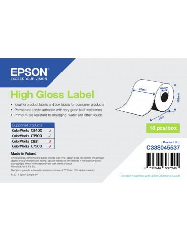 Epson High Gloss Label - Continuous Roll  76mm x 33m