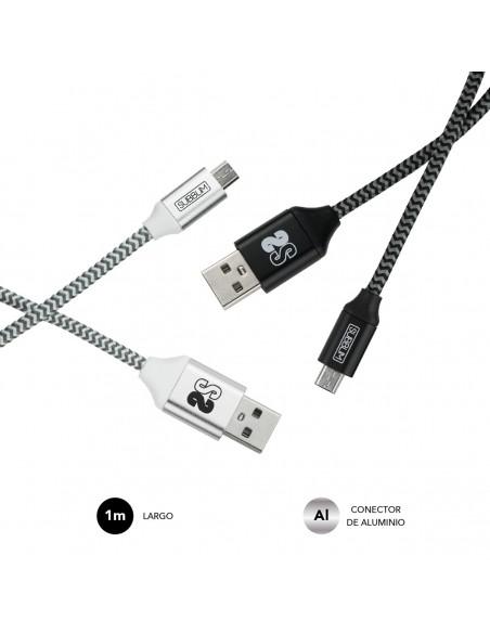 SUBBLIM PACK 2 CABLES USB A MICRO USB (2.4A) 1M BLACK SILVER