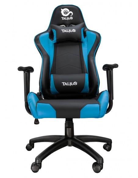 TALIUS Silla Gecko gaming negra azul, brazos fijos, butterfly, base nylon, ruedas nylon, gas clase 4