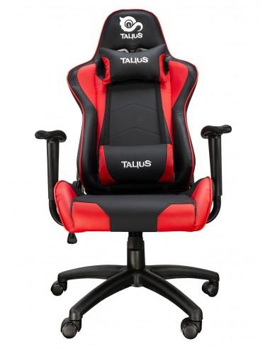 TALIUS Silla Gecko gaming negra roja, brazos fijos, butterfly, base nylon, ruedas nylon, gas clase 4